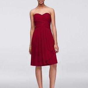 Red chiffon David's bridal dress
